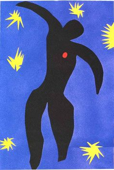 Henri Matisse. Icarus - Greek Myth - to escape the island, father makes wings from wax and feathers, tells Icarus not to get close to the sun.  Icarus does not listen, wings melt and he falls into the sea.