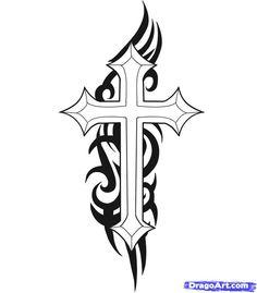 tribal design with cross tattoo design Cool Cross Tattoos, Tribal Cross Tattoos, Celtic Cross Tattoos, Cross Tattoo Designs, Tribal Art, Cross Tattoo Meaning, Tattoos With Meaning, Tattoo Drawings, Body Art Tattoos