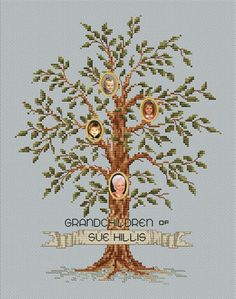Grandmother's Legacy Family Tree Cross Stitch by Sue Hillis Designs