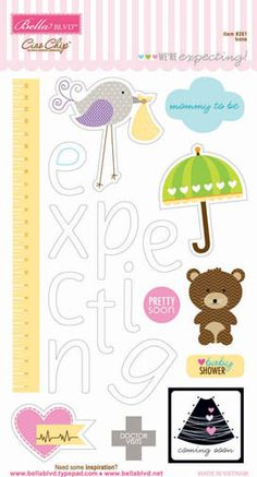 Bella Blvd - We're Expecting Collection - Ciao Chip - Self Adhesive Chipboard - Icons at Scrapbook.com $3.25