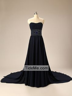 Charming Cheap Sweetheart A-Line Chiffon Long Bridesmaid Dress with Train Prom Dress Evening Dress