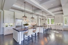 Gorgeous gourmet Santa Monica kitchen with Calacatta gold marble counters