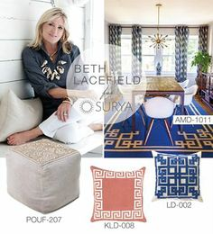 Beth Lacefield for Surya pillows, poufs and rugs #lacefielddesigns #interiors #colorful #flatweave