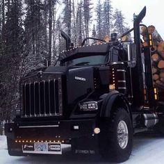 Blacked out KW log truck