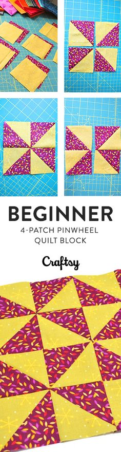 The pinwheel quilt block is a classic that takes a little time and practice to get the hang of. But once you've got your preferred half-square triangles method down, you can whip up a stack of pinwheel blocks with perfect points! @Craftsy