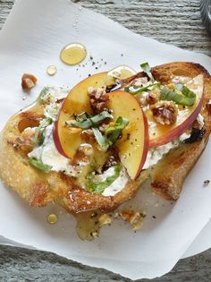 Ricotta Walnut Peach Bruschetta – A topping of zesty ricotta, peach, walnuts and olive oil brushed toast makes up this delicious appetizer. Try this recipe for a New Year's party. They'll steal the show!