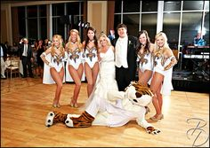 Mike the Tiger & the Golden Girls make an appearance at the wedding reception!Photos by Louisiana based Photographer Bray Danielle Photography braydanielle.com  #braydaniellephotography #wedding #love #thebigday #lsu