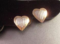 14K Heart Earrings Sterling Ribbed Center by LynnHislopJewels