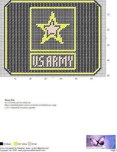 Army WH Plastic Canvas Crafts, Plastic Canvas Patterns, Cross Stitch Embroidery, Cross Stitch Patterns, Cross Stitches, Sara Foster, Quilt Of Valor, Geek Crafts, Checkbook Cover