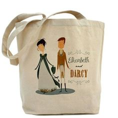 Lizzy and Darcy Tote Bag, for the Austen fans and lit geeks.
