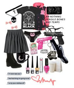 """""""Just another off day for a pretty killer in pink"""" by red-foxess-and-wolf ❤ liked on Polyvore featuring AX Paris, Vagabond, Prada, Boohoo, Hello Kitty, French Toast, Disney, shu uemura, women's clothing and women's fashion"""