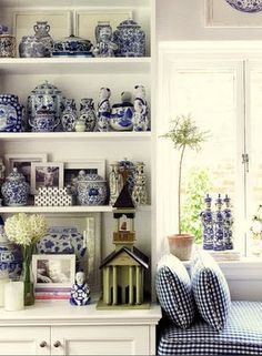 Blue and white kitchen, blue transferware, blue willow, staffordshire china. Chinoiserie figurines, window seat