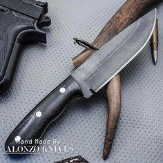 ALONZO KNIVES USA CUSTOM HANDMADE STONE WASH HUNTING 1095 KNIFE MICARTA 1354 #AlonzoKnives