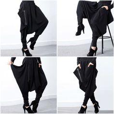 Women's Low-Crotch Fashion Designer Irregular Long Leggings (Plus Size) Women's Leggings, Leggings Are Not Pants, Designer Leggings, Long Chiffon Skirt, Fashion Designer, Women's Fashion, Fashion Outfits, Harem Pants, Branding