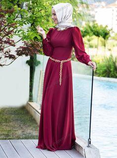 Yakası Ve Beli Zincirli Elbise - Bordo - Pınar Şems