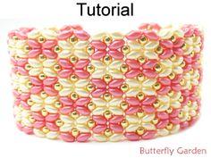 Beaded SuperDuo Butterfly Garden Bracelet Beading Pattern Tutorial   Simple Bead Patterns