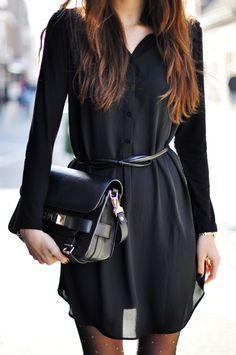 Classy n Sassy little black long sleeve dress