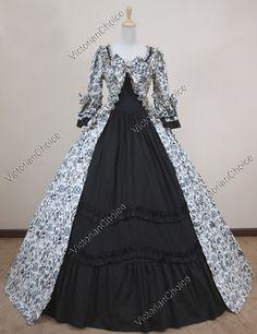 Renaissance Gothic Floral Print Cotton Dress Ball Gown Reenactment Halloween Stage Costume