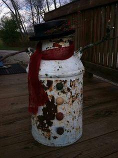 Rustic Milk can snowman
