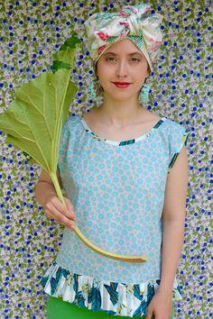 Bluse und Turban handmade by Sonja Rieser Turban, Floral Tops, Hats, Handmade, Women, Fashion, Moda, Hand Made, Hat