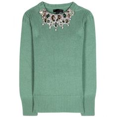 Burberry Prorsum Embellished Cashmere Sweater ($1,595) ❤ liked on Polyvore featuring tops, sweaters, shirts, burberry, sage green, embellished tops, cashmere sweater, burberry shirts, green shirt and embellished sweaters