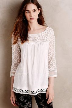 at anthropologei Mantra Lace Tee - ivory Petite Outfits, Cute Outfits, Différents Styles, Lace Tee, Kurta Designs, Passion For Fashion, Blouses For Women, Designer Dresses, Fashion Dresses