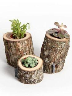 Pequeñas macetas hechas con troncos de madera Wooden Vase, Wooden Decor, Wooden Diy, Wood Log Crafts, Natural Wood Crafts, Log Decor, Log Table, Wooden Figurines, Branch Decor