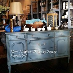 Shale Stone Paint Couture & Van Dyke Brown Glaze Couture painted by Retailer - Flair Finishes, Decor & Supply Glazing Furniture, Hand Painted Furniture, Furniture Projects, Furniture Makeover, Vintage Furniture, Cool Furniture, American Paint Company, Wood Dresser, Grey Paint