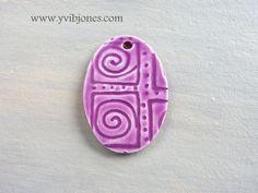 Handmade Pottery Necklace Pendant Artisan by YviBJonesCeramics