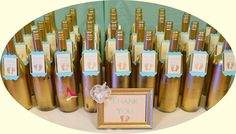 Fun favors at a vintage, gold and mint Baby Shower!  See more party ideas at CatchMyParty.com!