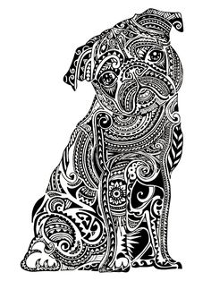 Pin for Later: 50 Printable Adult Coloring Pages That Will Make You Feel Like a Kid Again  Get the coloring page: Pug