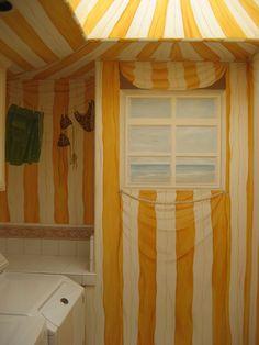 Trompe l'Oeil Cabana Tent Laundry Room mural idea as seen on www.findamuralist.com