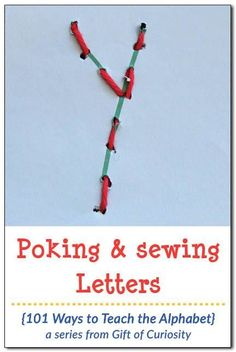 Poking and sewing letters develops fine motor skills and letter knowledge at the same time. This would be great for preschoolers. What a fun activity for teaching the alphabet and helping kids to learn their letters! || Gift of Curiosity