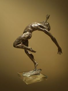 #Bronze #sculpture by #sculptor Keith Calder titled: 'Layback Male Dancer (nude man Small/little Indoor statues/statuettes)'. #KeithCalder