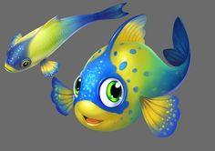 Cartoon Drawings, Animal Drawings, Cute Drawings, Character Illustration, Illustration Art, Drawn Fish, Sea Life Art, Cartoon Fish, Digital Art Photography