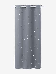 """Un ciel étoilé ! Ce rideau assombrissant est """"piqué"""" de minuscules étoiles perforées comme autant de points """"lumineux"""" rassurants et apaisants.DIMENSIONS   Largeur 105 cm. Existe en 2 hauteurs : 180 et 240 cm.   Effet occultant avec petites étoiles perforées. Finition oeillets. Existe en 3 coloris : rose, grègeet gris.   Rideau assombrissant en toile 100% polyester 250g/m2.;"""
