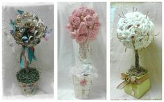 Topiary, Topiaries, paper flowers,  driftwood, altered pots, wooden beads, butterfly, handmade, OOAK, Made by: Jazzie Menagerie