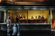 Famous paintings re-imagined with Star Wars elements - Mos Eisley Nighthawks
