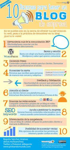 10 Razones para tener un blog de empresa #infografia #blogging #comunicacion