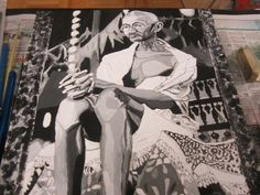 Mohandas Karamchand Ganhi Better Known As Mahatma Gandhi - Acrylic - Black/White on Birch Wood