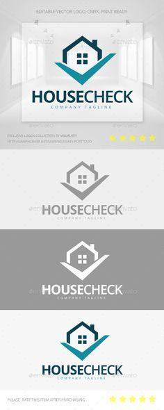 House Check Logo: Building Logo Design Template by Visualkey. Letterhead Template, Logo Design Template, Brochure Template, Logo Templates, Edge Logo, Construction Logo, Construction Business, Building Logo, Construction Birthday Parties