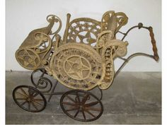 victorian baby buggies | Extra Fine Victorian Wooden Wheel Baby Buggy