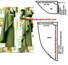 Discover thousands of images about Asimetrik Etek Pelerin Model ve KalıplarıCape and ruffles pattern Cape und Rüschenmuster Frock Patterns, Dress Sewing Patterns, Blouse Patterns, Clothing Patterns, Diy Clothing, Sewing Clothes, Sewing Paterns, Cape Pattern, Diy Mode