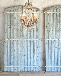 Antique Shabby Blue Barn Oak Doors-grey, weathered,vintage,white,doors, architectural, painted,