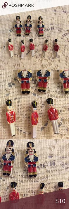 Nutcracker Soldier Mini Sew on Buttons Dress up your ugly Christmas sweater nutcracker theme. Excellent condition. Ballet. Ballerina. Christmas. Festive. Button. Comes with 3 nutcracker princes and five soldiers in red coats. One inch tall. Vintage Accessories