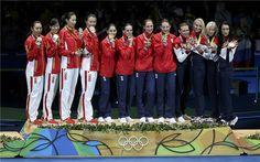 Fencing Women´s Épée team olympic 2016. Damernas lagvärja vanns av Rumänien. Kina silver och Ryssland brons.