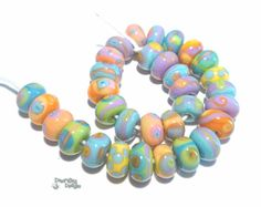 ISLAND BABIES Handmade Lampwork Beads - Purple Coral Blue Green Orange  - Teeny TINY Beads