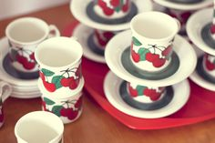 Brísingamen, kirsikka from Arabia Finland Red And Grey, Red Green, Displaying Collections, Finland, Savi, Coffee Cups, Nostalgia, Porcelain, Ceramics