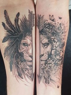 Our matching / not matching lion tattoos from Whetu at West Coast Tattoo . - Our matching / not matching lion tattoos from Whetu at West Coast Tattoo … # Lion t - Him And Her Tattoos, Love Tattoos, Unique Tattoos, New Tattoos, Unique Couples Tattoos, Couples Matching Tattoos, Mini Tattoos, Tattoo Couples, Pretty Tattoos