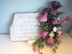 Large memory Stone with silk flowers